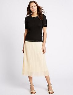 Pleated A-Line Midi Skirt | M&S