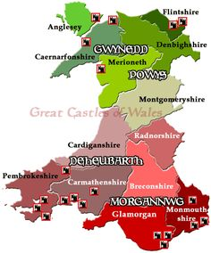 "My ancestors lived in Powys, Gwynedd and the Druid Isle (Ynis Mon, now Anglesey). Rhodri The Great was the first ""King of all of Wales"" [Castles Location Map - Great Castles of Wales] Welsh Castles, Castles In Wales, Countries In Uk, Learn Welsh, Welsh Names, Historical Fiction Authors, Castles To Visit, Ancient Artefacts, Wales"