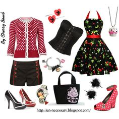 Rockabilly Girl II by llucherrybomb on Polyvore featuring Laura Ashley, Forever…