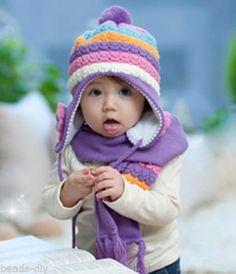 1PC Red Panda Handmade Knit Crochet Baby Beanie Hat Cap 21cmx17cm