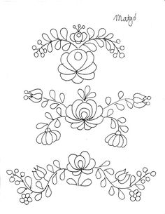 Hungarian Embroidery Pattern Untrendy Life: 3 Free Hungarian Embroidery Designs - Sweaters For Autumn - Handmade Garments Mexican Embroidery, Hungarian Embroidery, Folk Embroidery, Learn Embroidery, Flower Embroidery, Chain Stitch Embroidery, Embroidery Stitches, Machine Embroidery, Embroidery Designs