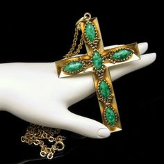 Vintage Extra Large Cross Pendant Necklace Green Swirl Stones Reversible Unique from http://stores.ebay.com/My-Classic-Jewelry-Shop. A very lovely and unique large vintage cross necklace with green swirled stones. :)