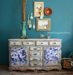 The Turquoise Iris ~ Vintage Modern Home: Hand Painted Cobalt and White Furniture Makeover Inspired By Mexico Accented with an Otomi Print