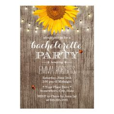 Rustic Sunflower String Lights Country Chic & Ladybugs Bachelorette Party Announcement Invite Invitation   #wedding #bachelorette #sunflowers #lights