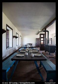 : fort laramie - dining hall inside barracks at fort laramie Fort Laramie, Historical Sites, Places Ive Been, Dining, America, Furniture, Usa, Home Decor, Travel Memories