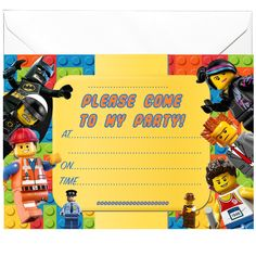 20 x Party Invitations inspired by Toys Lego Kids Party Supplies, I Party, Party Invitations, Party Themes, Lego, Inspired, Toys, Birthday, Inspiration