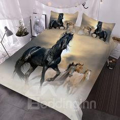 Black Horse Animal Pattern Comforter Sets with 2 Matching Pillow Covers Dark Bedding, 3d Bedding, Luxury Bedding, Cotton Bedding Sets, Cotton Duvet, Comforter Sets, White Duvet Covers, Duvet Cover Sets, Pillow Covers