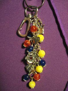 Teacher School Theme Red Yellow Blue Glass Bead Purse Charm Key Chain Teach #FoxyFunDangles