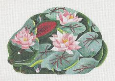 dede Oriental Waterlilies Porcelain Bunny Rabbit handpainted Needlepoint Canvas in Crafts, Needlecrafts & Yarn, Embroidery & Cross Stitch | eBay