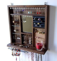 Jewelry display mirror. earrings display. necklace holder. walnut stain display with shelf.  wall mounted jewelry storage. earrings holder.