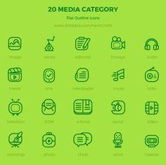 Free 20 Media Category Icons by HevnGrafix Creative