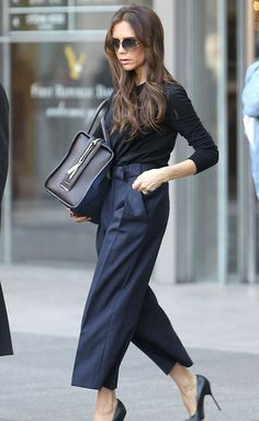 The 21 Best Street Style - Pants and bag seem too bulky for Posh's petite figure.