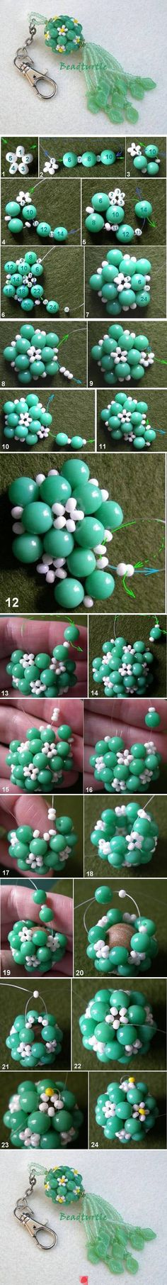 Beaded daisy ball for pendants tutorial.