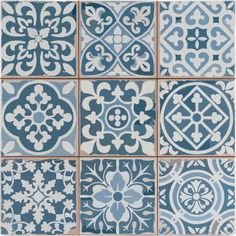 It is easy to picture sun-drenched streets of Spain when looking at the Merola Tile Faenza Azul 13 in. Ceramic Floor and Wall Tile. Save time and labor spent arranging smaller square tiles and Tiles Uk, Blue Tiles, White Tiles, Victorian Tiles, Antique Tiles, Victorian Flooring, Rustic Blue, Tile Patterns, Floor Patterns