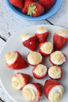 These no bake strawberry cheesecake bites are so simple, but so delicious and make a great finger food dessert for parties or when have the tastes for a sweet treat!