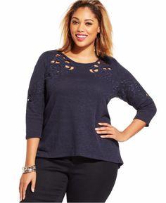 0d2f6100cfbb1 Jessica Simpson Women s Blue Plus Size Jena Embroidered Cutout Top Size 2XL   JessicaSimpson  Top