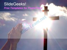 Hand praying to jesus christ cross in hilltop with sun shining in background free powerpoint templates ppt themes presentation backgrounds #PowerPoint #Templates #Themes