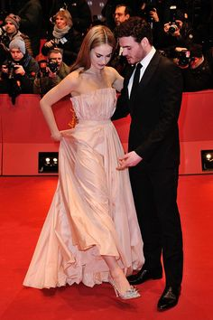 Jimmy Choo Designed Lily James' (here with costar, Richard Madden) 'Cinderella' Premiere Shoes - Hollywood Reporter