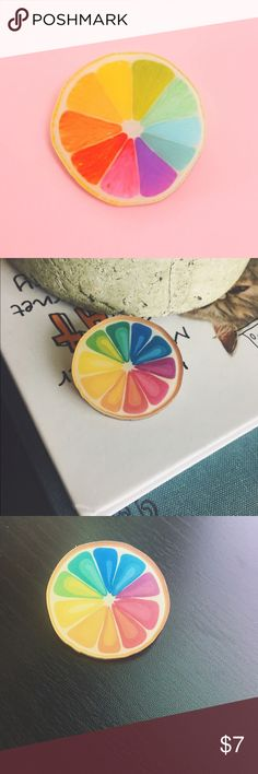 NEW 🌈🍊Color Orange Wheel Pin 🌈 Rainbow wheel acrylic pin- only ONE available! Other