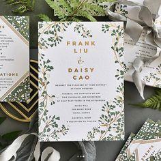 Vine Wedding Invitation Green Wedding Invitation Gold