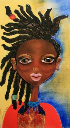 "Abena"" African Art on Wood"