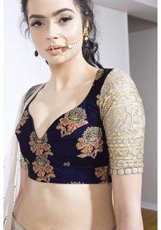 The Peach Project - Velvet Night Blouse Sari Blouse Designs, Choli Designs, Blouse Styles, Traditional Fashion, Traditional Outfits, Indian Attire, Indian Wear, Pakistani Outfits, Indian Outfits