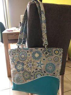 Sac Samba bleu de Fabienne - Patron sac de plage Sacôtin