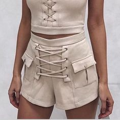 Ins Trendy Fashion Blogger Suede Lace Up Pockets Sexy Casual Chic Shorts – Lupsona