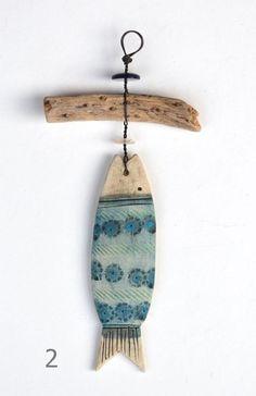 Ceramic Fish And Driftwood Hangers - CoastalHome.co.uk: