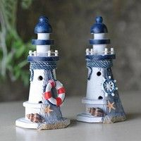 Other Home Decor Nautical Decor Wooden Lighthouse/Light Tower Starfish Shells Red Lifebouy & Garden Lighthouse Decor, Lighthouse Lighting, Nautical Bathroom Design Ideas, Nautical Home, Nautical Craft, China Crafts, Clay Flower Pots, Room Themes, Cute Crafts