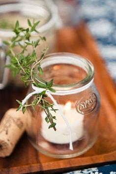 jam jar display..green/string/glass