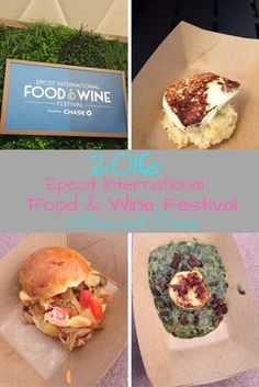 2016 Epcot International Food & Wine Festival Menus with Locations, Prices, and notations for Gluten Free and Vegetarian Offerings.