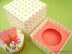 Individual Cupcake Box Pastel Polka Dots by SimpleTastes on Etsy