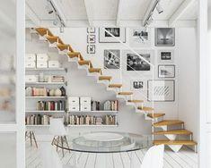 Fotolijstjes bij de trap Staircase Storage, Stair Storage, Staircase Landing, Open Stairs, Under Stairs, Basement Stairs, House Stairs, Entryway Stairs, Deck Stairs