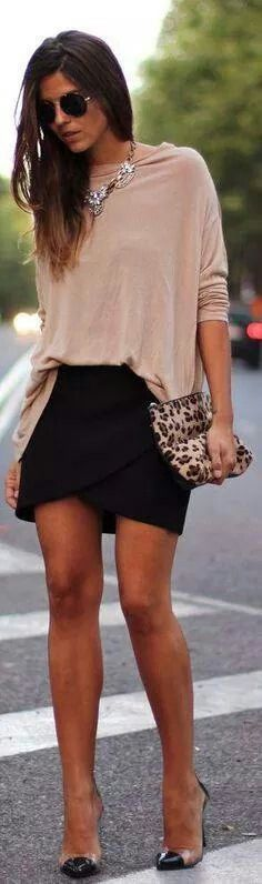 Baggy shirt and tight skirt