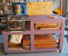A Table Saw Station turns a benchtop table saw into cabinet style table saw. These 7 DIY space-saving table saw stations are perfect for a small workshop. Best Table Saw, Table Saw Stand, Diy Table Saw, Table Saw Workbench, Building A Workbench, Workbench Plans, Garage Workbench, Industrial Workbench, Workbench Designs