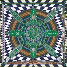 b04e13ed53d0 Parade de Leonhardi Carré en twill di soie vintage (70 x 70 cm) Par