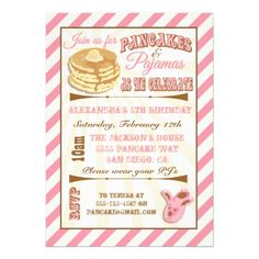 Shop Pancakes and Pajamas Birthday Party Invitations created by McBooboo. Personalize it with photos & text or purchase as is! Pajama Birthday Parties, Kids Birthday Party Invitations, Birthday Ideas, Pajama Party, Pancake Party, Pancake Breakfast, Pancakes And Pajamas, Bunny Birthday, 3rd Birthday