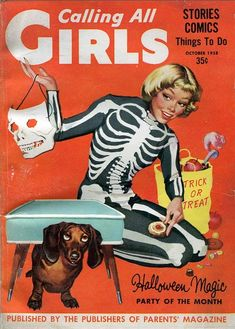 Calling All Girls magazine cover shows a girl dressed as a skeleton with her dachshund, from 1958.