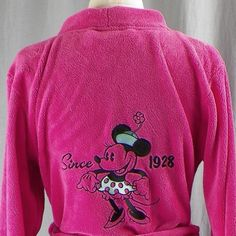 Embroidered Minnie Mouse Soft Pink Bathrobe Small Medium Disney Since 1928 #Disney #Robes