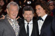 Ian McKellen, Orlando Bloom and Andy Serkis at event of Hobbit.(2014)