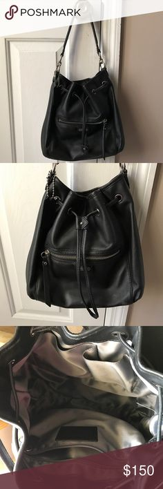 ✨COACH Drawstring Leather Bucket Bag-Black Real Leather COACH bucket bag with drawstring. Great condition! Coach Bags Totes