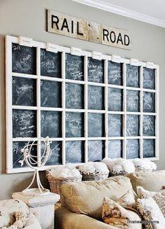 Industrial chic large chalkboard window