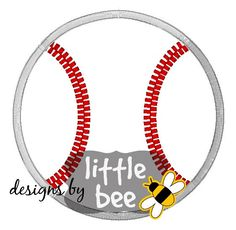 simple baseball embroidery applique design in 4x4, 5x7, 7x7 fast frames SEW PES DST and more. Instant Download! bean stitch, monogram.