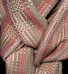 Écharpe foulard, bambou & coton tissé main, marron et Rose écharpe tissé à…