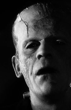 """Frankenstein's monster (Boris Karloff) in """"Bride of Frankenstein"""" both a scary and sympathetic monster, and a sequel which surpasses the original in every way. Horror Monsters, Scary Monsters, Famous Monsters, Mary Shelley, Sci Fi Horror, Horror Films, Frankenstein's Monster, Monster Mash, Classic Horror Movies"""