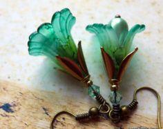 Lucite Blüte Ohrringe, Ohrringe Calla Lilien, viktorianischen Ohrringe, Ohrringe…