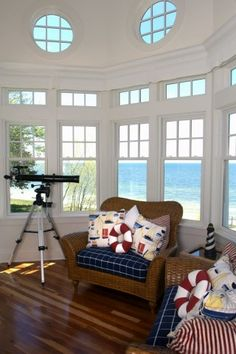 Fabulous room with a view! - Mike Schaap Builders Inc Coastal Style, Coastal Living, Custom Home Builders, Custom Homes, Fishermans Cottage, Cape Cod Cottage, Beach Cottages, Sunroom, Interior Architecture