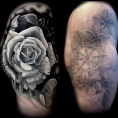She didn't like the flowers she had so we did a large rose. Done using poch world famous ink set Best Cover Up Tattoos, Best Tattoos For Women, Cool Tattoos, Hamilton Tattoos, Inked Shop, Inked Magazine, Realism Tattoo, Tattoo You, Floral Tattoos