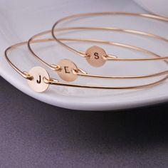 Personalized Bridesmaid Jewelry, FOUR Hand Stamped Initial Bridesmaid Gifts, Gold Bangle Bracelets
